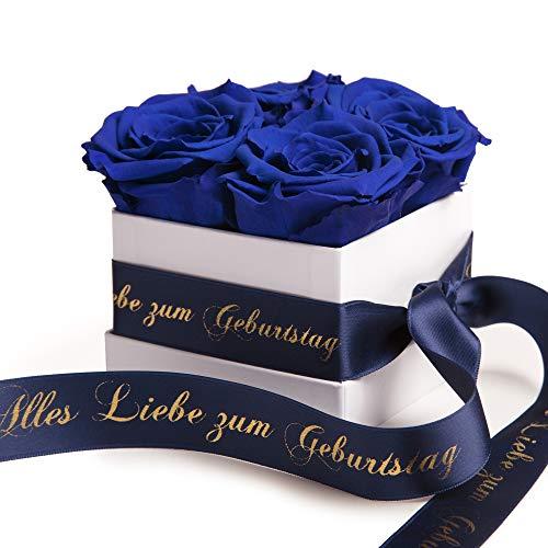 Rosenbox Weiß mit infinity Rosen Blau haltbar 3 Jahre - Geburtstag Geschenk für Frauen (Alles Liebe zum Geburtstag, Weiß-Blau)
