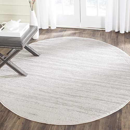Safavieh Adirondack Collection ADR113B Modern Ombre Area Rug, 4' Round, Ivory/Silver