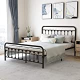 Metal Bed Frame Queen Size with Headboard and Footboard Platform Base Wrought Iron Bed Frame, Sturdy Steel Slat Support,No Box Spring Needed,Black