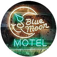 Blue Moon Motel Bar Pub Club Dual Color LED看板 ネオンプレート サイン 標識 緑色 + 黄色 600 x 400mm st6s64-i2333-gy