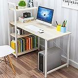 Escritorio moderno y simple con estantes abiertos para el hogar, oficina, escritorio, para juegos, estudio, de madera, para dormitorio, sala de estar, D 90 x 40 x 72 cm, profundidad de 90 x 40 x 72 cm