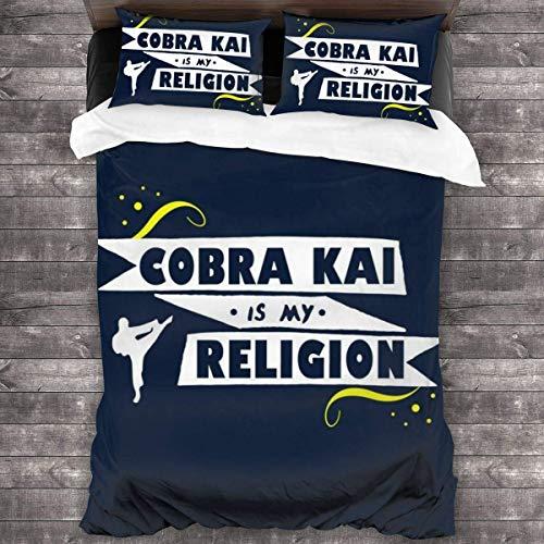Yearinspace Cobra Kai Is My Religion - Juego de cama de 3 piezas, funda de edredón de 86 x 70 pulgadas, juego de cama decorativo de 3 piezas con 2 fundas de almohada