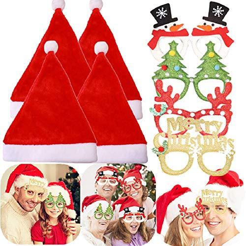 JeVenis 8PCS Cappello di Natale Bicchieri di Natale Cappello di Babbo Natale Accessori per cabine per Foto di Natale Forniture per Feste di Natale Festa di Natale