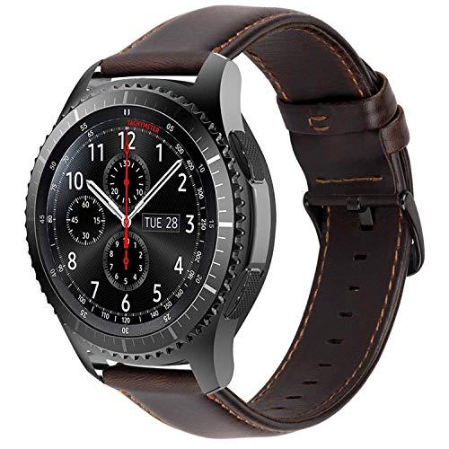 Correas Cuero Piel iBazal 22mm Pulseras Bandas Compatible con Samsung Galaxy Watch 46mm,Gear S3 Frontier Classic,Huawei GT/2 Classic/Honor Magic,Ticwatch Pro Hombres Band (Reloj No Incluido) - Café