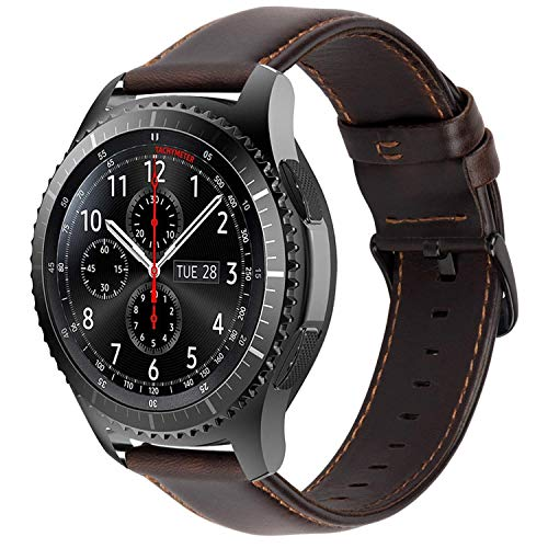 iBazal 22mm Bracelet Cuir Bandes Straps Compatible avec Samsung Galaxy Watch 3 45mm/Gear S3 Frontier Classic,Galaxy Watch 46mm Bands Remplacement pour Huawei GT/2 Classic,TicWatch Pro Hommes - Café