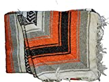 Mexican Falsa Blanket 52' X 77' – Authentic Handwoven Yoga Blanket – Navajo Blanket, Camping Blanket , Picnic Blanket, Saddle Blanket (Sudadero para Caballo) Handcrafted by Mexican Artisans. (Orange)