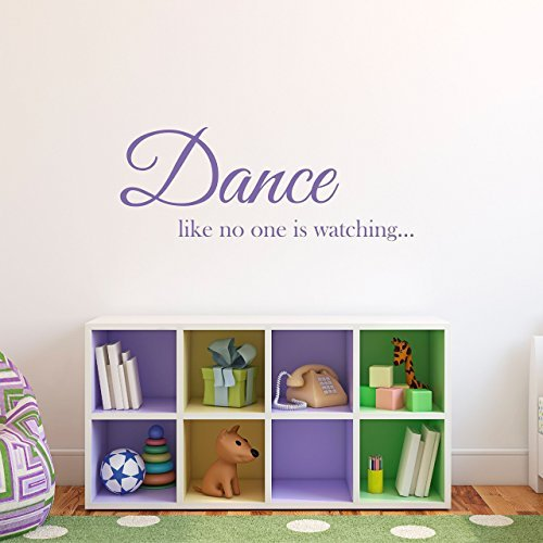 Calcomanía de pared de vinilo para decoración de habitación de niños y niñas con texto en inglés 'Dance Like None is Watching