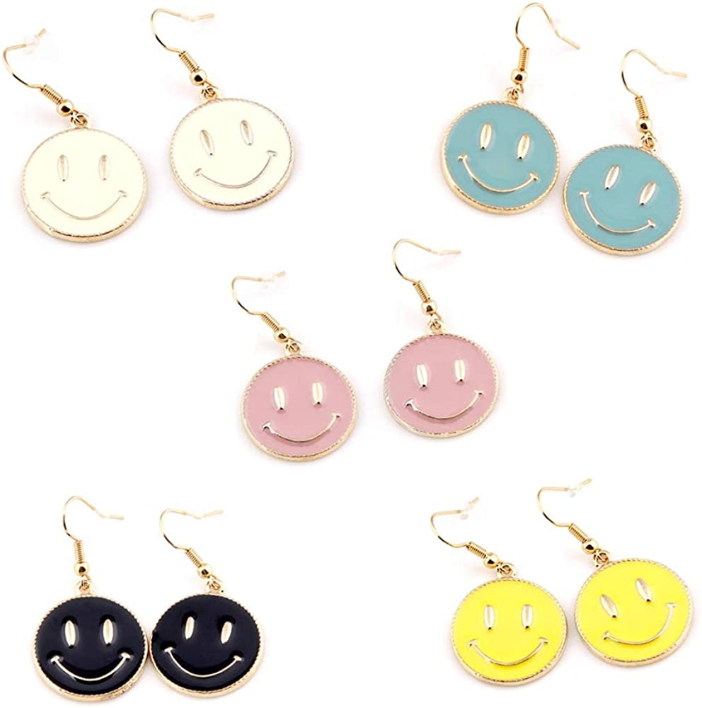 5 Pairs Cute Round Smiley Face Earrings Fun Design Adorrable Face Earrings Gold Plated Statement Ear Piercing Punk Emotion Jewelry Set Earings for Women Girls