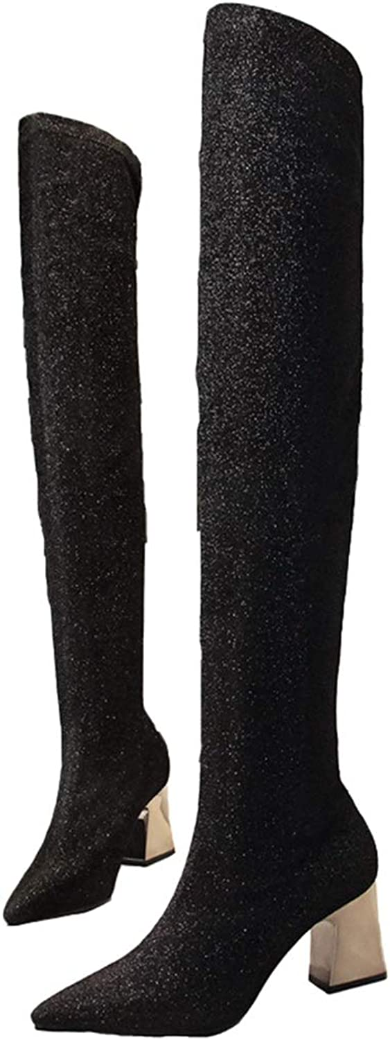 GEORPE Over The Knee Thigh High Sock Boots Glitter Metal Thick Heel Fabric Boots