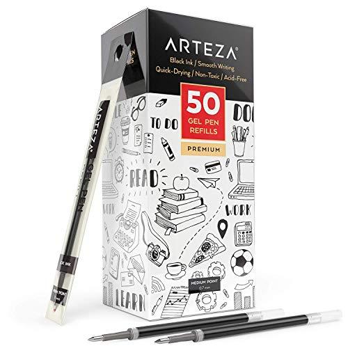 Arteza Gelstifte Nachfüllungen, 50 schwarze Gelroller-Minen, mittelfeine 0,7 mm Stiftspitze für Tintenroller, schnell trocknend, ungiftig zum Schreiben, Notieren & Skizzieren