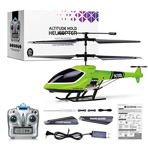 YOU339 Helicóptero teledirigido de 4 canales con luces, helicóptero de altura 2,4 G con mando a distancia, helicóptero de aleación para niños y adultos (RTF)