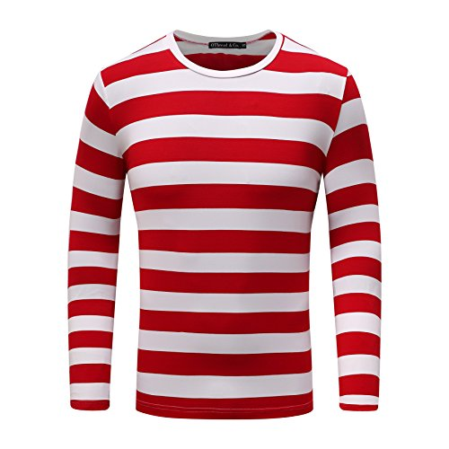 OThread & Co. Men's Long Sleeve Striped T-Shirt Basic Crew Neck Shirts (Small, Red&White)