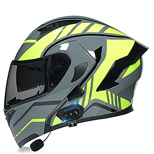 Cascos modulares de la motocicleta ECE/DOT certificación Bluetooth Flip Up Cascos integrales Dual-altavoz Bluetooth auricular con micrófono para respuesta automáti(Size:XL (61-62CM),Color:Amarillo-D)