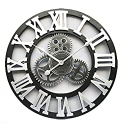 Handmade Oversized 3D Retro Rustic Decorative Art Big Gear Wooden Vintage Large Wall Clock On The Wall for Gift 20 Inche,Rome Silver,45Cm