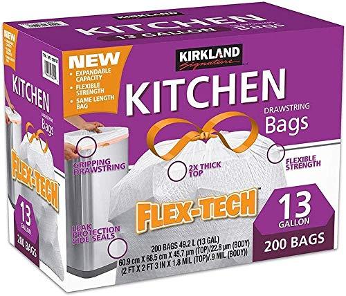 Kirkland 13 Gallon Trash Bag, 200 Count, Multicolor, 200 Count