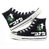 MLX-BUMU Serie De Impresión Zapatillas De Deporte Clásicas Zapatos De Lona Casual Cómodo Detective De Dibujos Animados Conan,Black,43