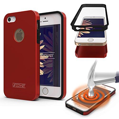 Urcover® 360 Grad Hülle kompatibel mit Apple iPhone 7 Plus Handy-Hülle Rot RUNDUM-Schutz Ultra Slim 2017 Full Body Touch Case Schale Handy-Tasche Crystal Clear Cover