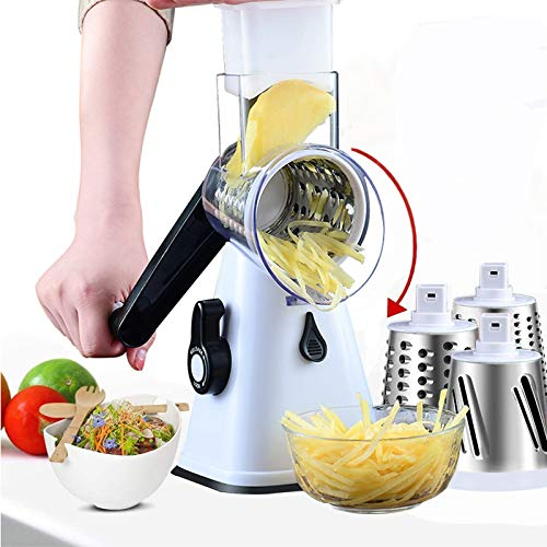 Rotary Cheese Grater, Multifunctional Cutter with 3 Blades Made of Stainless Steel, Grater, Ideal as a Potato Grater, Vegetable Slicer, Cheese Grinder