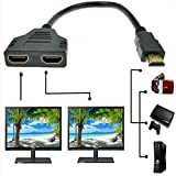 HDMI Splitter Adapter Cable HDMI Male to Dual HDMI Female 1 to 2 Way, Support Two TVs at The Same Time, Signal One in, Two Out