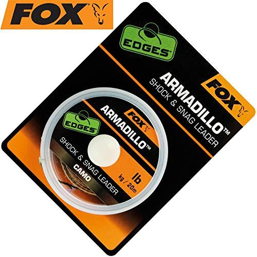 Fox Armadillo Camo Shock & Snag Leader 20m - Vorfachmaterial zum Karpfenangeln, Schlagschnur, Vorfachschnur für Karpfen, Tragkraft:50lbs/22.7kg