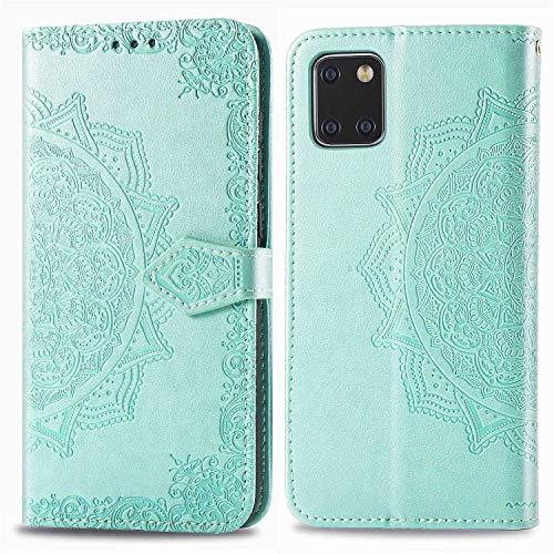 Bear Village Hülle für Galaxy Note 10 Lite/Galaxy A81, PU Lederhülle Handyhülle für Samsung Galaxy Note 10 Lite/Galaxy A81, Brieftasche Kratzfestes Magnet Handytasche mit Kartenfach, Grün