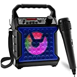 Risebass Portable Karaoke Machine with Microphone - Home Karaoke System with Party Lights for Kids and Adults - Rechargeable USB Speaker Set with FM Radio, SD/TF Card Support, and AUX-In (Blue)