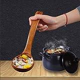 Chenny Suppenlöffel natürlicher japanischer Holz Suppe Brei Ramen Reis Langer Griff Löffel Besteck geeignet für Familienrestaurant (S) - 8