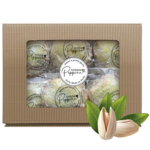 NONNA PIPPINA Pistacchiotti, 500g, traditionell handgemachtes sizilianisches Mürbegebäck mit Pistazien-Creme-Füllung, einzeln verpackt, in schöner Geschenk-Box