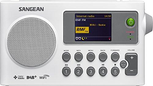 Sangean SIR-100 tragbares Internetradio (Radio DAB+/UKW, WLAN, Spotify, MP3, Wecker) weiß