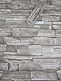 Visario Tapeten Folie 3000-S selbstklebend 10m x 45cm Farbe Steinoptik Schiefer grau Dekorfolie Möbelfolie Tapete 3017