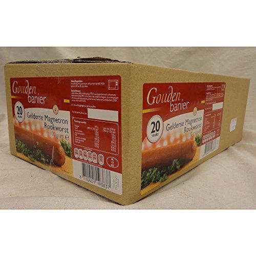Gouden Banier Gelderse Magnetron Rookworst 20 x 100g Packung (Gelderland Mikrowellen Räucherwurst)
