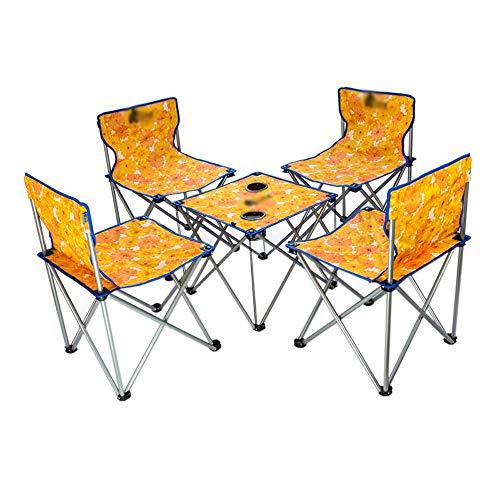 Outdoor draagbare opklapbare tafel en stoel set, campingstoel, visstoel, stalen buisframe Oxford stoffen stoel, licht en draagbaar, met rugleuning draagtas, geschikt voor camping vissen, pak van 5