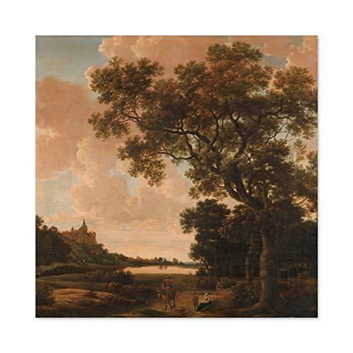Van Der Haagen Landschap Schwanenturm Kleve Grote muur kunst Poster Print Dikke Papier 24X24 Inch