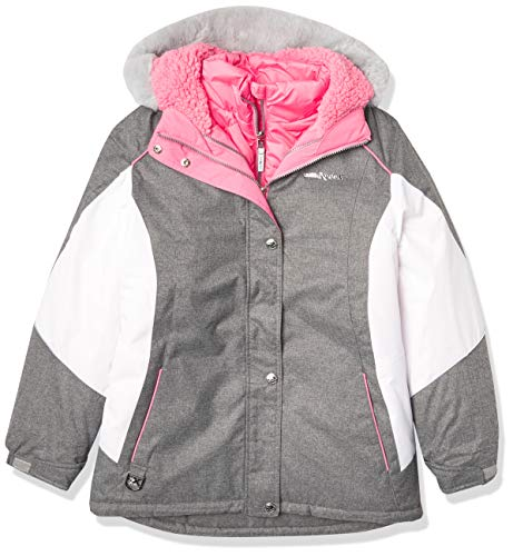 ZeroXposur Girls 3 in 1 Winter Jacket with Attached Hood and Adjustable Cuffs Winter Ski Coat (Mid Heather, Large)
