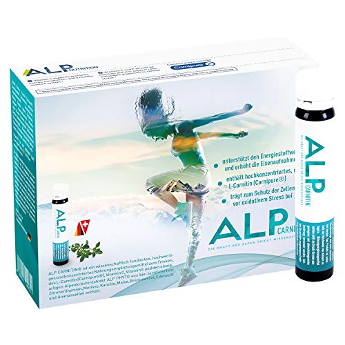 ALP CARNITIN L Carnitine liquid Voedingsupplementen Ampullen 14x25 ml L-Carnitin Vitamine C E - Pre Workout Fat Burner voor Vet Metabolisme Duurtraining Dieet