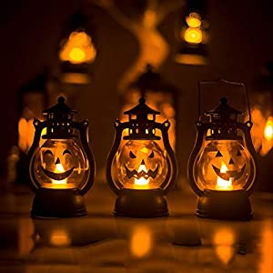 LEDライトフレームレスキャンドル3Packとハロウィンランタンパーティーランタン