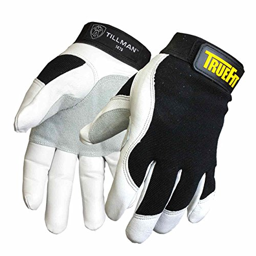 Tillman Large Black and White TrueFit Goatskin and Spandex Full Finger Mechanics Gloves with ElasticHook and Loop Cuff