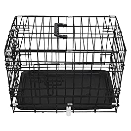 Greenbay Dog Crates Double Doors Foldable Metal Pet Puppy Cage with Tray Training Traveling Crate