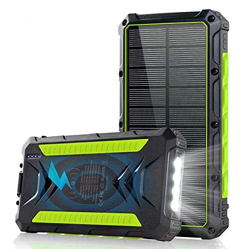 Powerbank Solare 20000mAh, Caricabatterie Solare Portatile con 2 Porte USB e 1 3.0A Tipo C ad Alta velocità, Qi Ricarica Wireless Batteria Esterna con 4 Luci a LED e Gancio per Smartphone iPhone