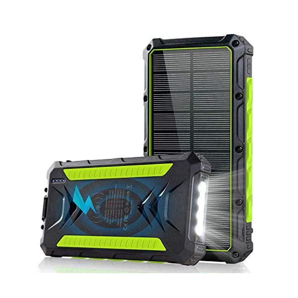 20000mAH Portable Solar Charger, Wireless Solar Power Bank Rainproof Camping Battery Pack with 3A Fast Charging 4…