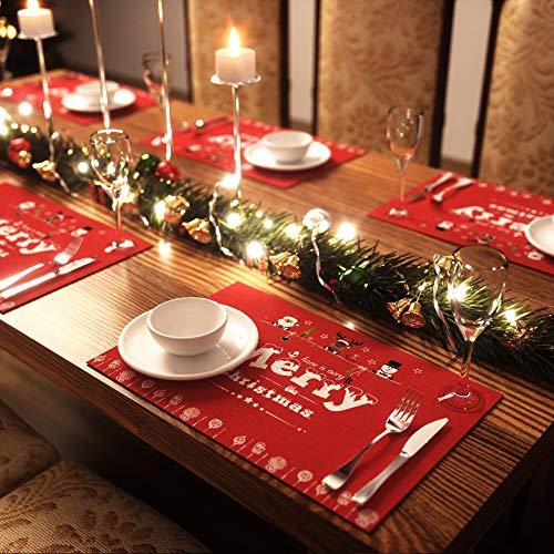 AMFOCUS Merry Christmas Placemats Set of 6, with Reindeer Santa Snowman Printed, Non-Slip Place mats Washable Table Mats, 12 × 18 inch