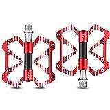 Pedales Antideslizantes para Bicicleta de Montaña de Aleación Plana de 9/16,Red