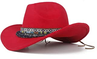 JIALANG Autumn Western Cowboy Hat with Tassel Ribbon Adult Hat Sombrero Hat Wide Brim Fascinator Hat (Color : Red, Size : 56-58)