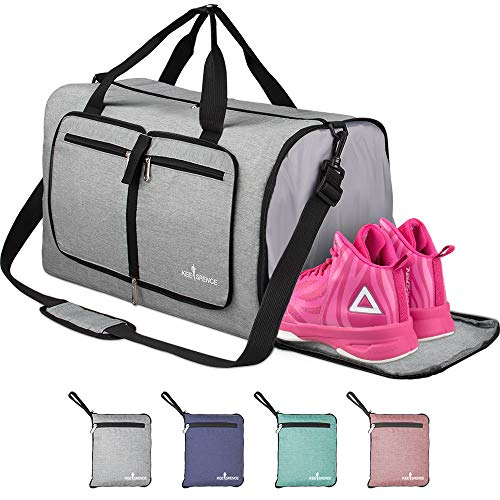 Packable Duffle Bag for Travel, Lightweight 35L Foldable Duffle Bag Carry on for Boarding Airline Gym Sports (Grey)