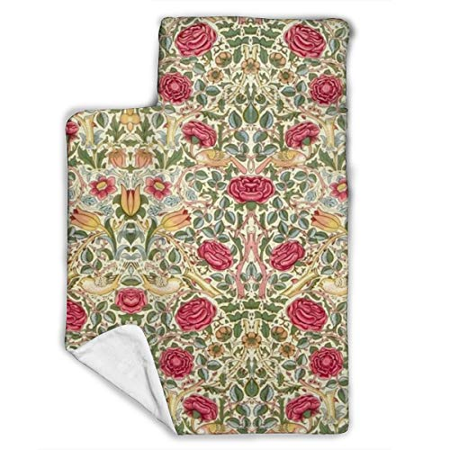 Microfiber Nap Mat with Pillow/Fleece Blanket, Vintage Botanical Wild Rose Flowers Garden Natural Plant Rolling Mat for Kids Toddlers, Luxury Sleeping Bag for Daycare Relaxing