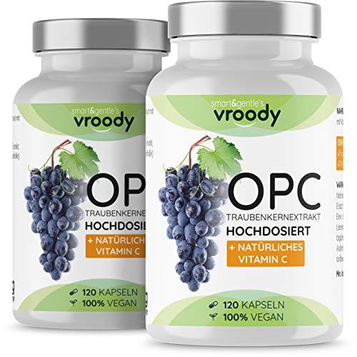 2x OPC Traubenkernextrakt hochdosiert mit natürlichem Vitamin C - 2x 120 OPC Kapseln (8 Monate) mit Acerola, 100{b5c12b28068030a3d6a0250d70ab1c603c8b78c6ea38338cfb28eadbca48332d} vegan & natürlich, OPC hochdosiert nur eine Kapsel täglich, 95{b5c12b28068030a3d6a0250d70ab1c603c8b78c6ea38338cfb28eadbca48332d} Wirkstoffanteil