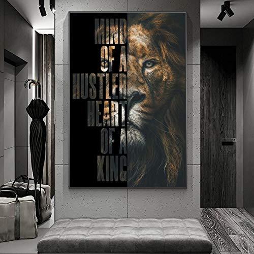 YQLKC Carteles e Impresiones León Negro con Palabras Inspiradoras Obra de Arte Pintura en Lienzo Arte de Pared para Sala de Estar Decoración del hogar 23.6'x31.4 (60x80cm) Sin Marco