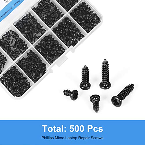 MEIYYJ M2, M2.3, M2.6, M3 Philips Screws Assortment Set, 500PCs Self-Tapping Micro Screws in 10 Sizes for Computer Glasses Repairing, Carbon Steel Black Precision Screws Kit with Organizer Box
