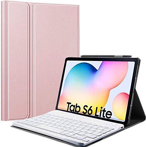 "APISHUM Custodia per Tastiera Samsung Galaxy Tab S6 Lite 10.4"" 2020 Cover [QWERTY English], Ultra Slim Case Rimovibile Wireless Keyboard Tastiera per Samsung Tab S6 Lite SM-P610  P615, Oro Rosa"