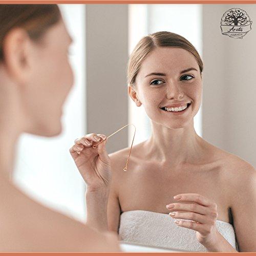 Zungenreiniger aus Kupfer | Ayurvedischer Zungenreiniger | 2 Zungenschaber gegen Mundgeruch | Wissenschaft nachgewiesene Förderung der Mundgesundheit | Antimikrobielle Wirkung | Zungenbürste | Arista Ayurveda - 5